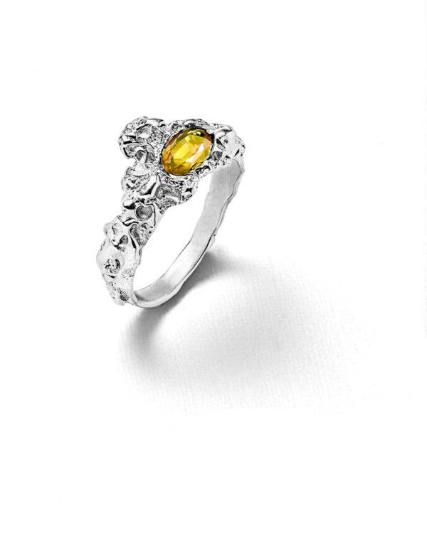 Bague Roche citrine argent Laura Guitte Jewellery