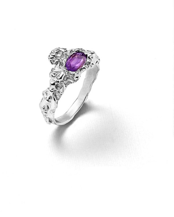 Bague roche amethyste ovale Laura Guitte Jewellery