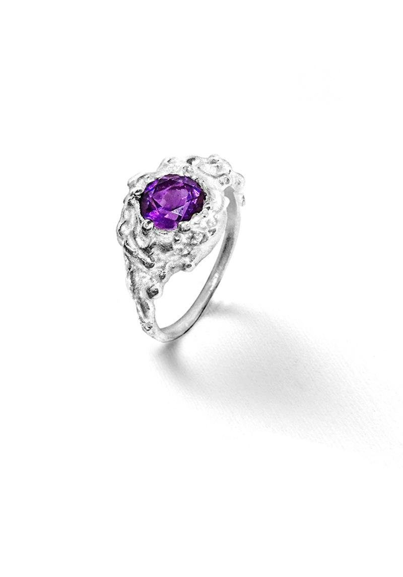 Bague roche amethyste ronde Laura Guitte Jewellery