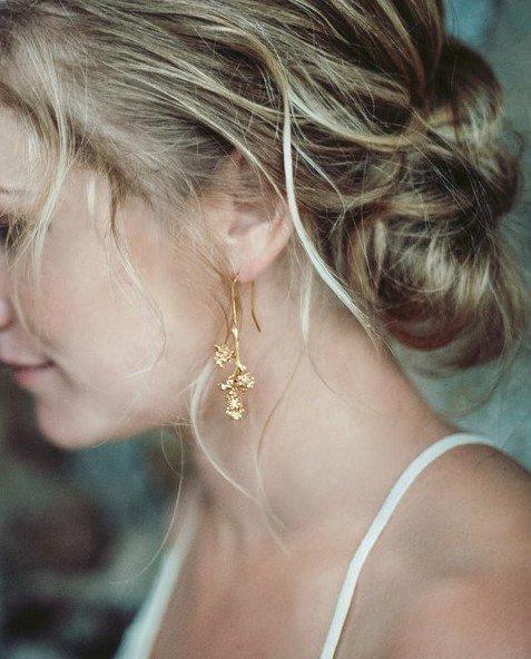 Boucles d'oreilles plaquées or Lyon bijouterie Laura Guitte Inflorescences vignes